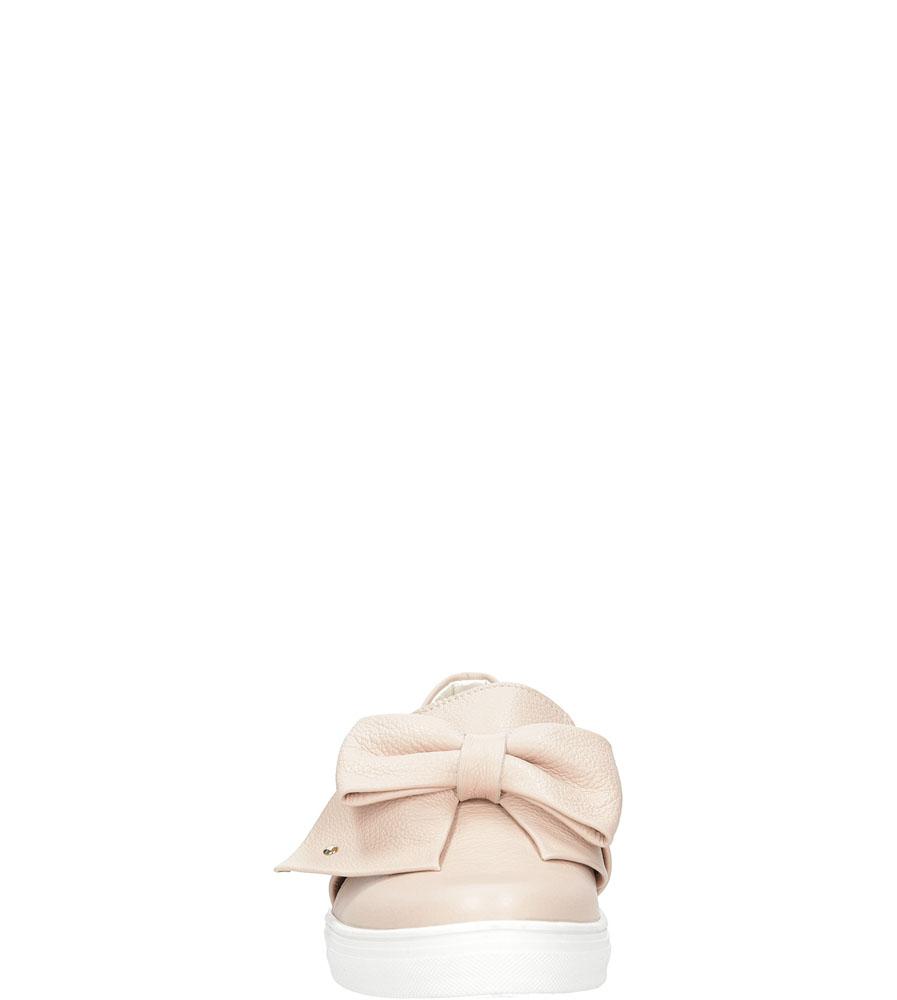 Slip on skórzany z kokardą Casu 1967 kolor jasny różowy