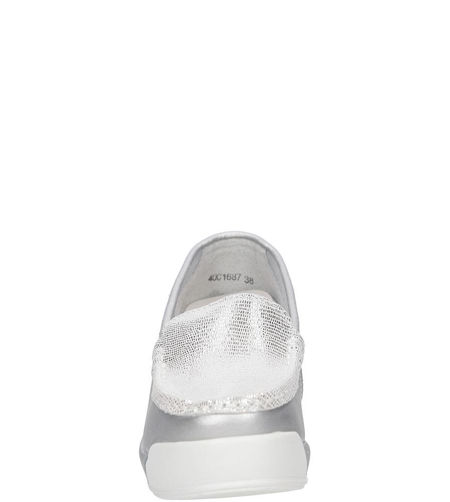 Półbuty skórzane na koturnie Lanqier 40C1687 kolor srebrny
