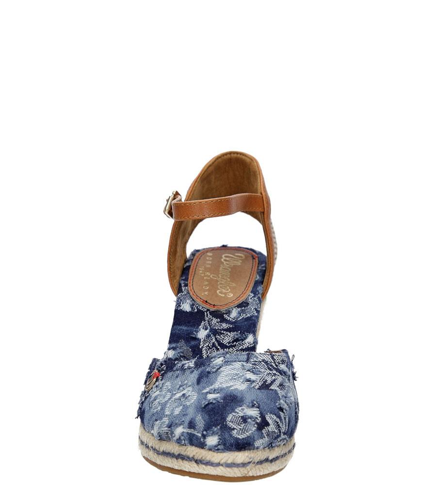 Damskie Sandały na koturnie Wrangler Brava WL171610 niebieski;;