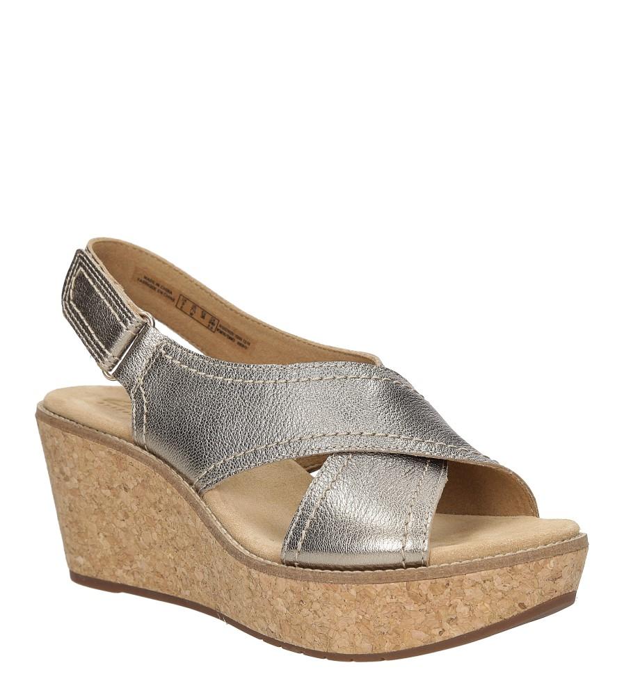Damskie Sandały skórzane na koturnie Clarks Aisley Tulip 26125079 złoty;;