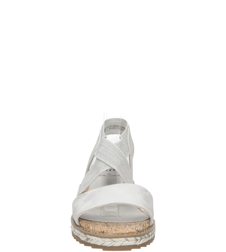 Sandały na koturnie Jana 8-28603-28 kolor biały, srebrny