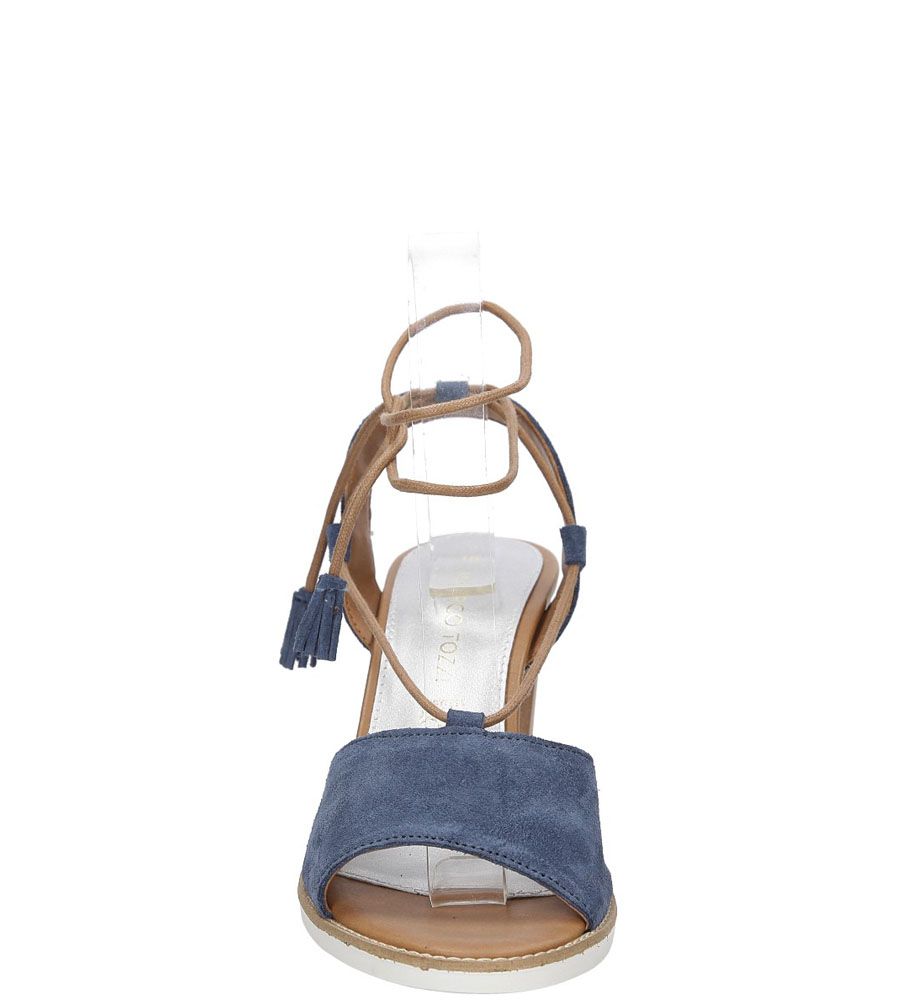 Sandały z zamszu wiązane Marco Tozzi 2-28365-28 kolor niebieski
