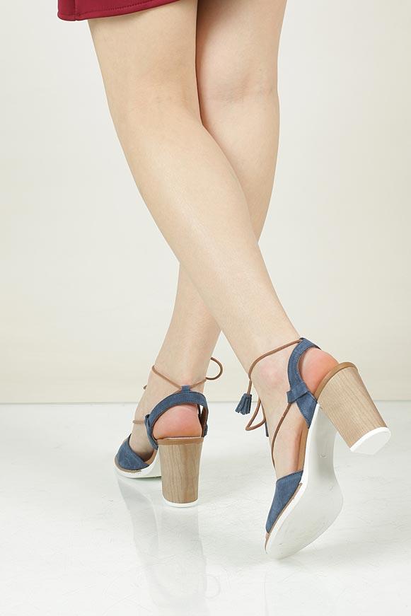 Sandały z zamszu wiązane Marco Tozzi 2-28365-28 wnetrze skóra ekologiczna