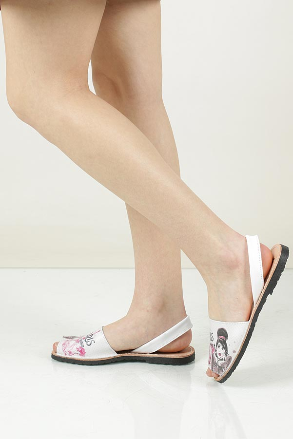 Damskie Sandały skórzane Verano 343 biały;multikolor;