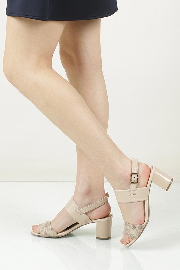 Damskie Sandały skórzane na słupku Caprice 9-28302-28 beżowy;;