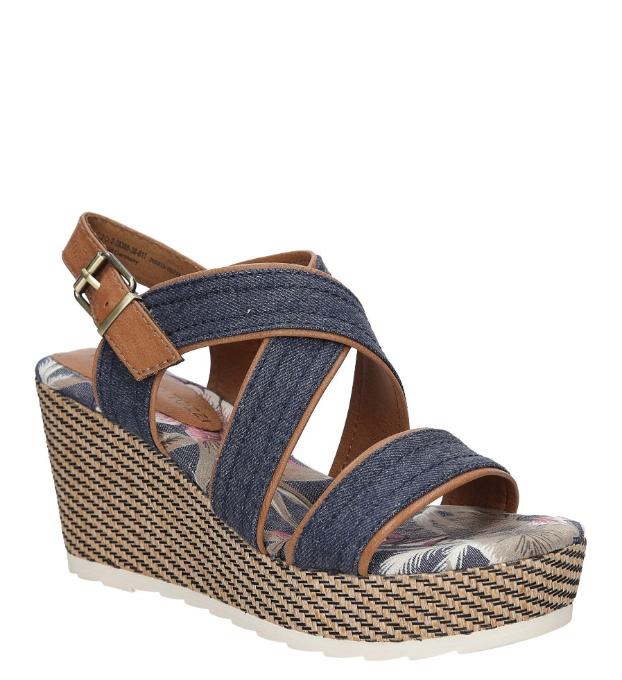 Damskie Sandały na koturnie Marco Tozzi 2-28389-38 niebieski;;