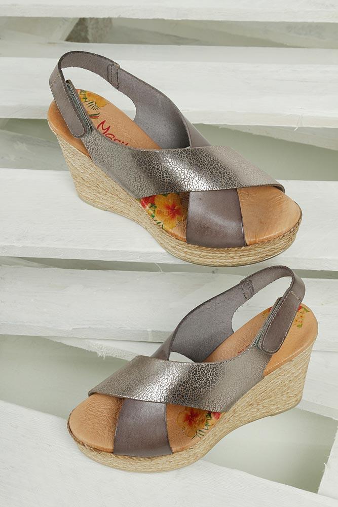 Sandały skórzane na koturnie Marila 4064/LA-24