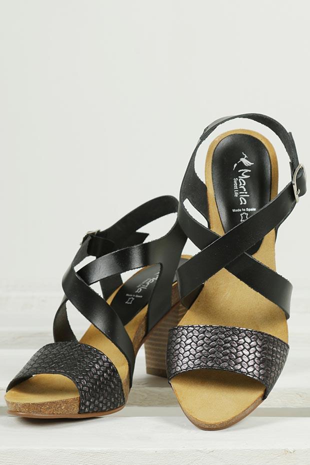 Sandały skórzane na słupku Marila 9840/02-36