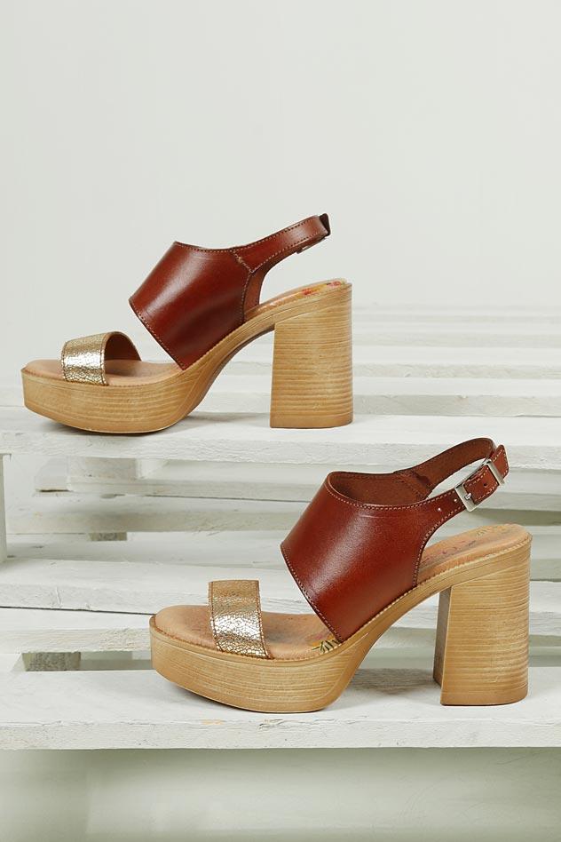 Sandały skórzane na słupku Marila 2100/IL-24