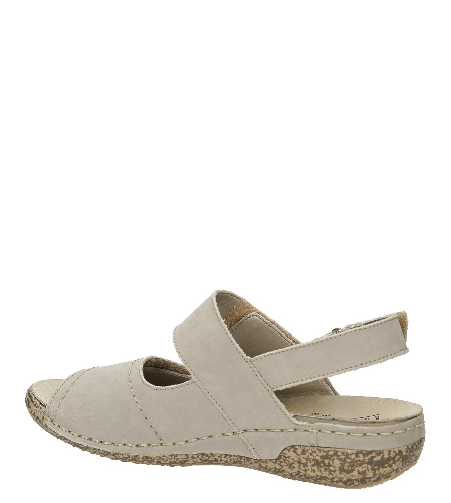 Sandały skórzane Rieker V7272 kolor szary