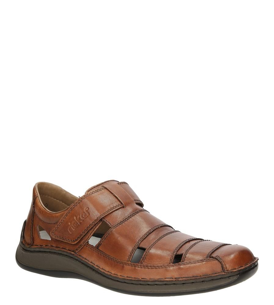 Męskie Półbuty skórzane ażurowe Rieker 05278 brązowy;;