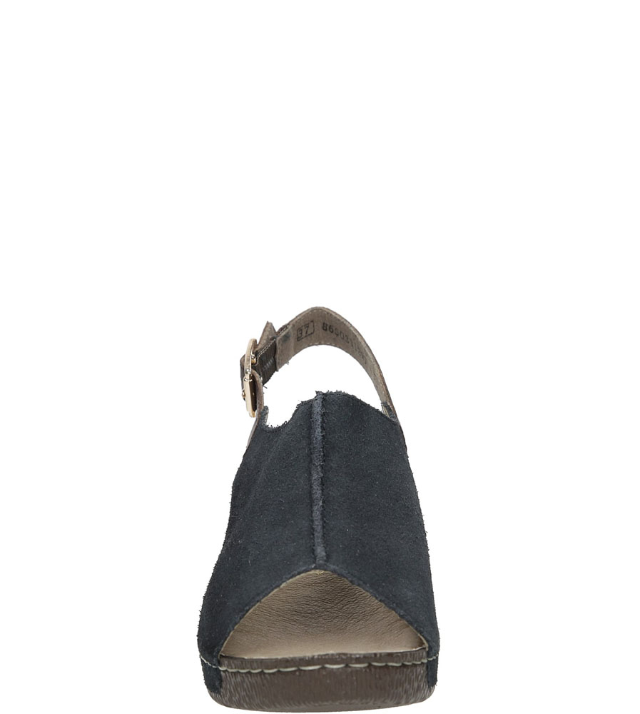 Sandały zamszowe na koturnie Rieker 65660 kolor granatowy