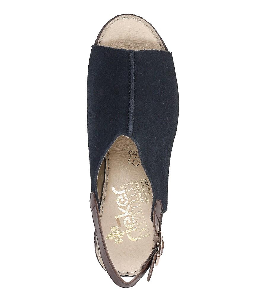 Sandały zamszowe na koturnie Rieker 65660 wysokosc_platformy 1.5 cm