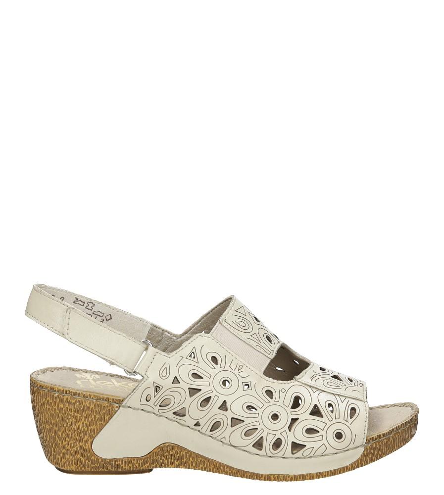 Damskie Sandały skórzane ażurowe na koturnie Rieker 65695 beżowy;;