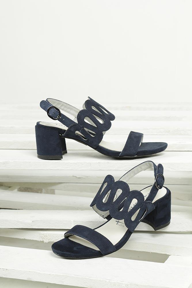 Sandały z nubuku na słupku Tamaris 1-28378-38