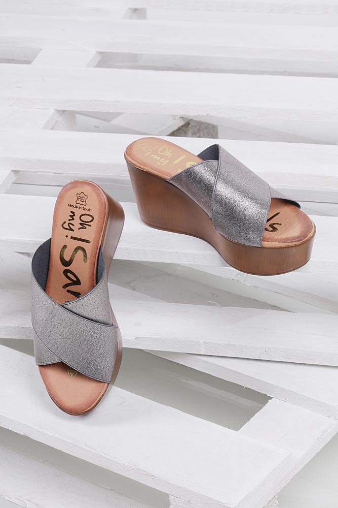 Klapki na koturnie Oh My Sandals 3490