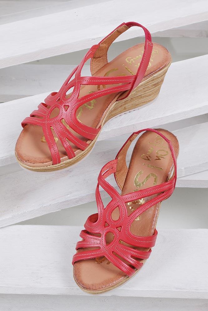 Damskie Sandały skórzane na koturnie Oh My Sandals 3480 czerwony;;