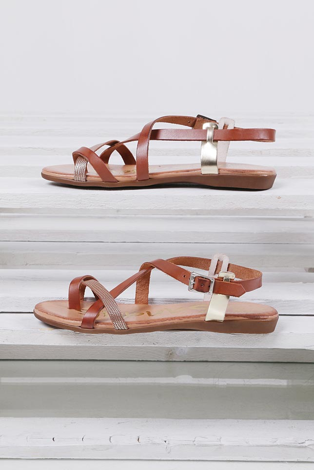 Damskie Sandały skórzane Oh My Sandals 3441 brązowy;;