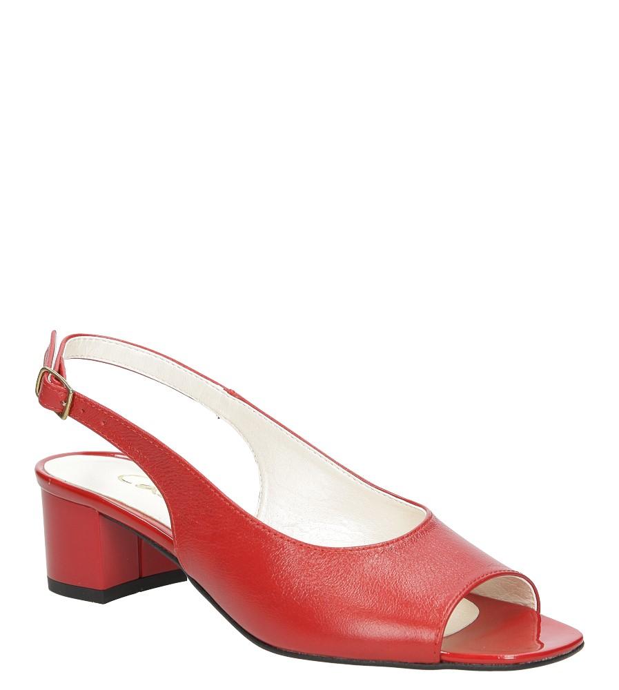 Damskie Sandały skórzane na słupku Casu 1869 czerwony;;