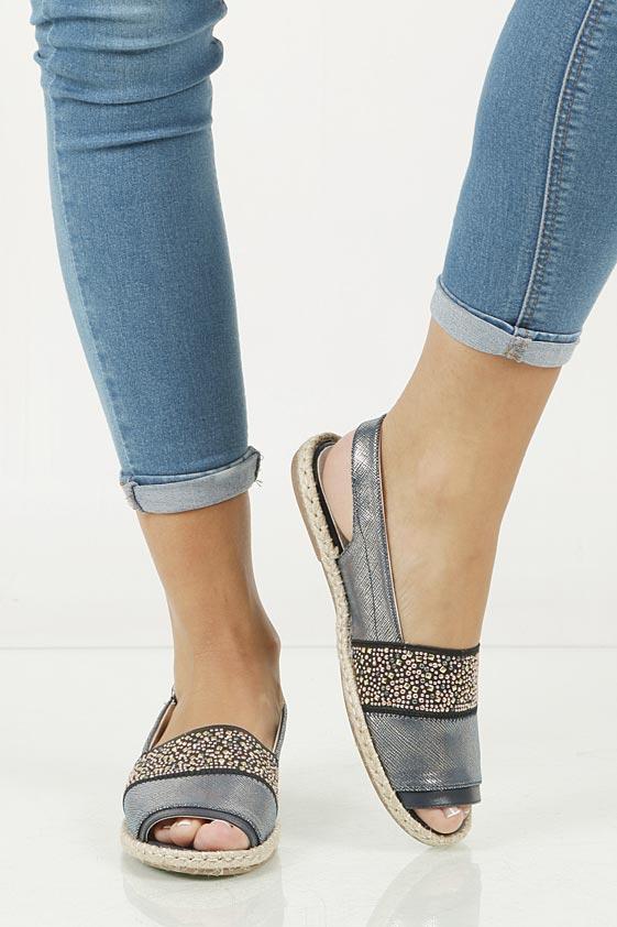 Sandały z cyrkoniami Jezzi MR1631-2 wierzch skóra ekologiczna