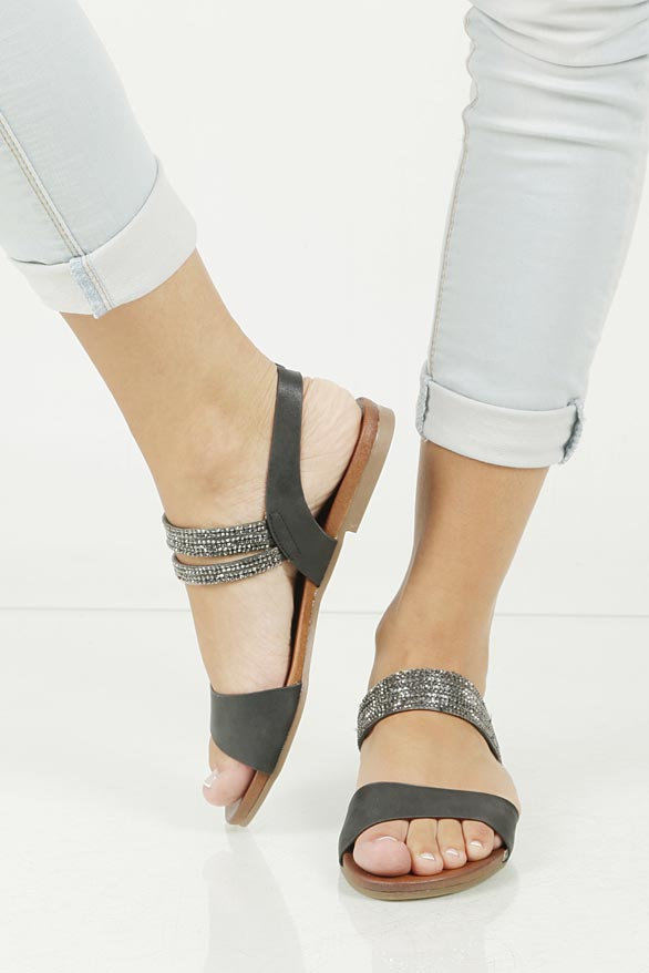 Sandały z cyrkoniami S.Barski 541-3A wierzch skóra ekologiczna