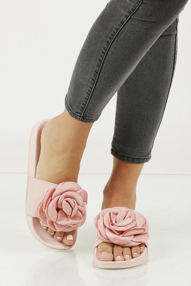 Klapki z różą Casu 515-27