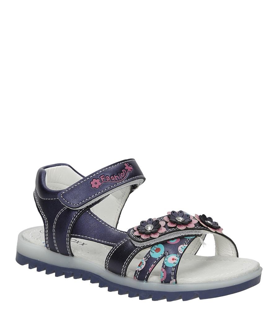 Dziecięce Sandały z kwiatkiem na rzepy Casu 5SD508 niebieski;;