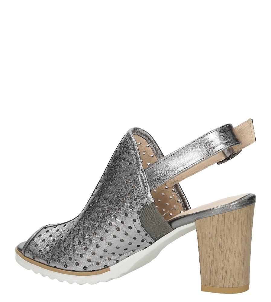 Sandały skórzane na słupku Karino 1997/078-P kolor srebrny