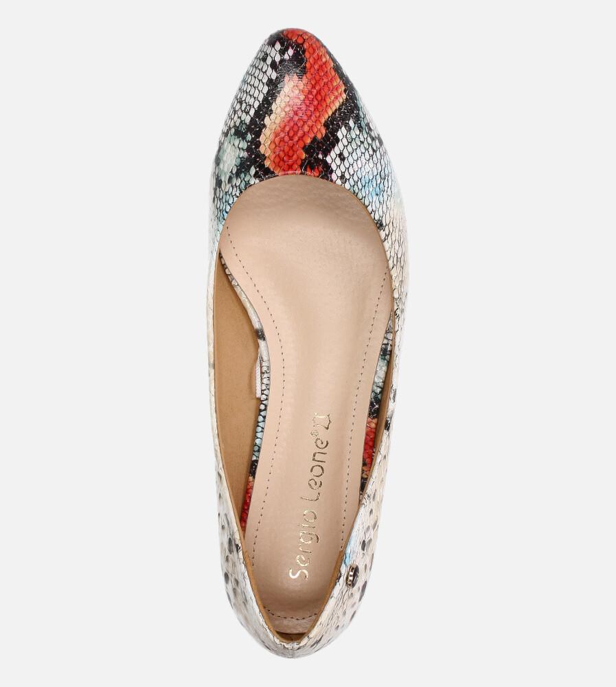 Baleriny Sergio Leone wzór wężowy czerwone BL611 wys_calkowita_buta 8 cm