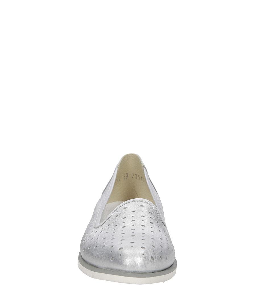 Baleriny srebrne skórzane ażurowe Nessi 17116 wysokosc_platformy 1 cm