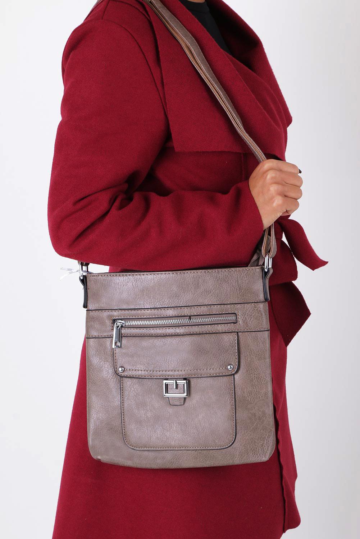 Beżowa torebka listonoszka z kieszonką z przodu Casu 3632-BB
