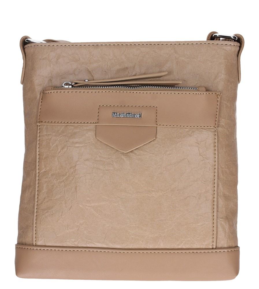 Beżowa torebka listonoszka z kieszonką z przodu Casu 3661-MM