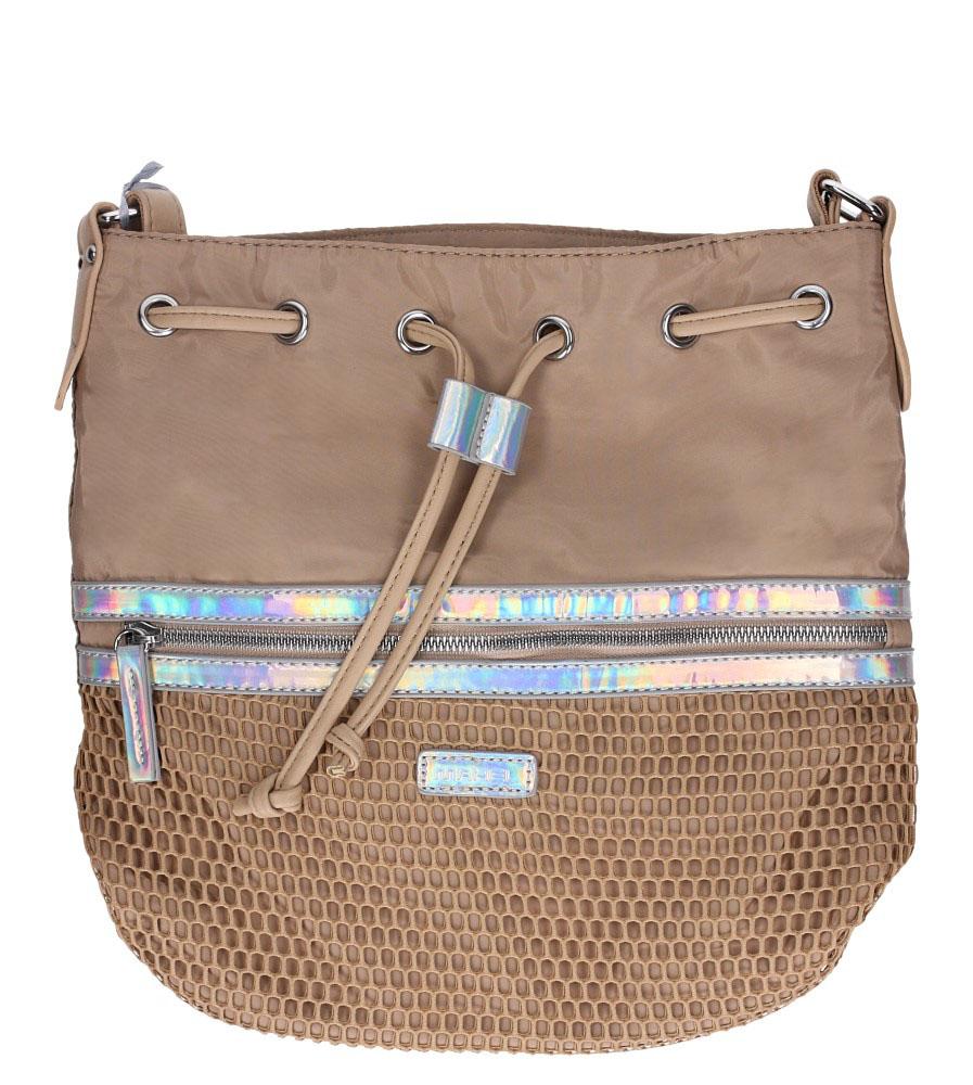 Beżowa torebka listonoszka z kieszonką z przodu i holograficzną wstawką Casu 4384-MH