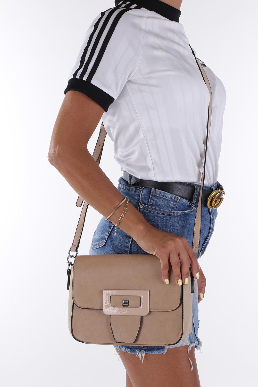 Beżowa torebka listonoszka z ozdobną klapką Casu AC-48