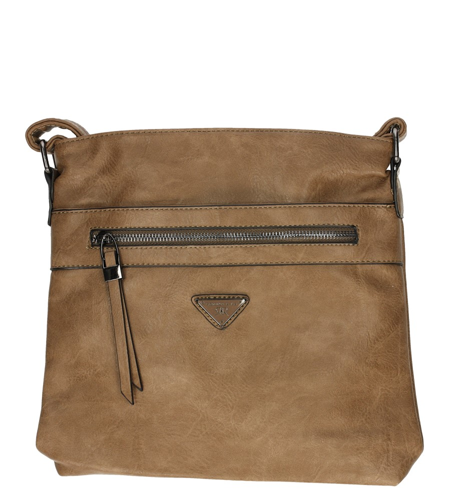 Beżowa torebka listonoszka z ozdobnym suwakiem Casu D90