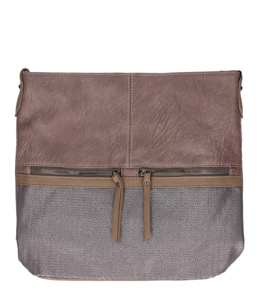 Beżowa torebka listonoszka z ozdobnymi suwakami Casu 3940-BB