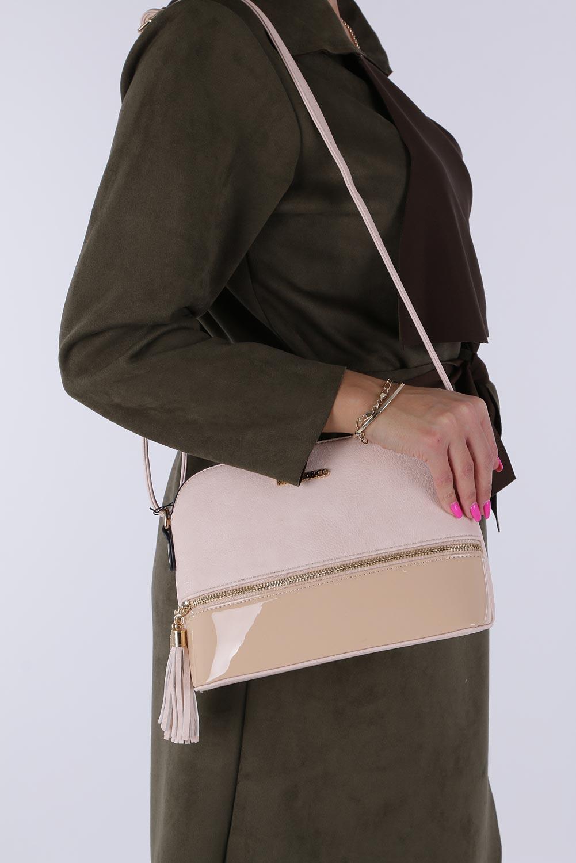 Beżowa torebka mała z frędzlami Casu Z854-1 sezon Całoroczny