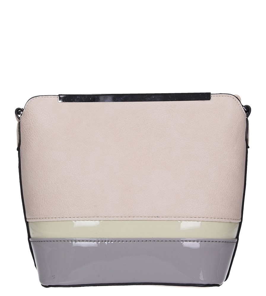 Beżowa torebka mała z metalową ozdobą Casu A6871