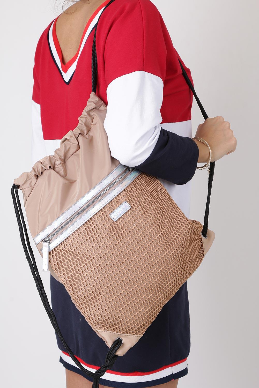 Beżowa torebka plecak z kieszonką z przodu i holograficznyną wstawką Casu 4383-MH