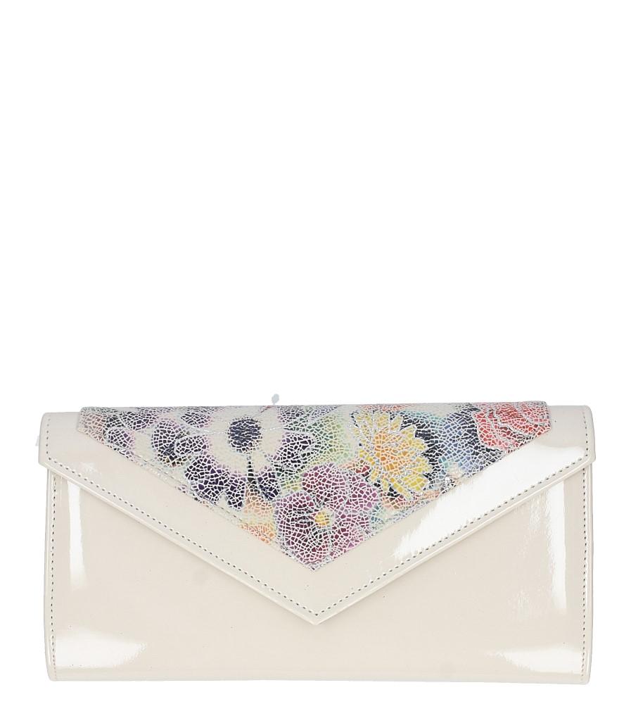 Beżowa torebka wizytowa lakierowana w kwiatki Casu 60