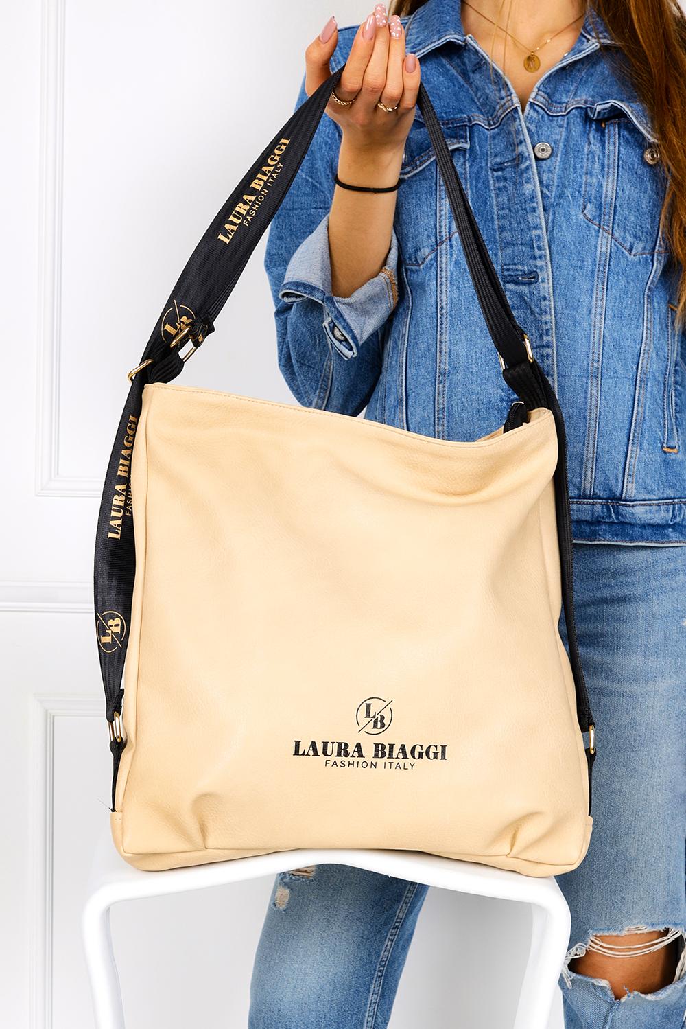 Beżowa torebka worek Laura Biaggi JP55