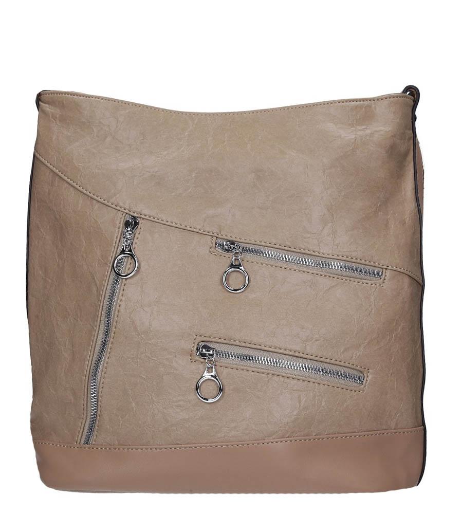 Beżowa torebka z ozdobnymi suwakami Casu 3844-BB