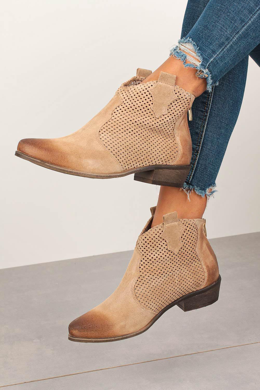 Buty Beżowe botki Exquisite kowbojki skórzane wiosenne