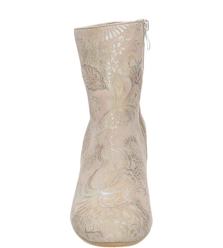 Beżowe botki skórzane wiosenne na ozdobnym szerokim obcasie Casu 1640/668 style Kwiatowy