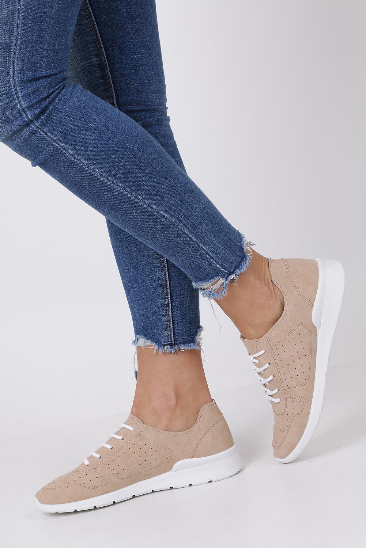 Beżowe buty sportowe ażurowe sznurowane Casu B58-5