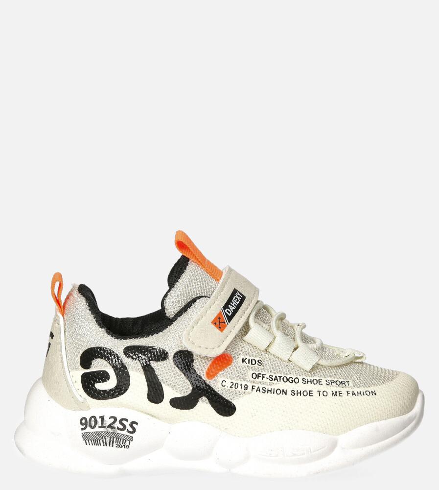 Beżowe buty sportowe na rzep Casu 204/8M jasny beżowy