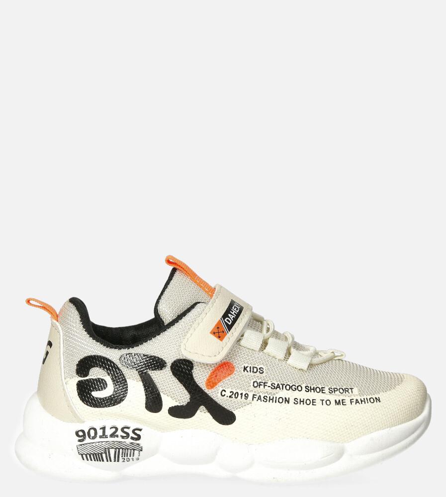 Beżowe buty sportowe na rzep Casu 204/9M jasny beżowy