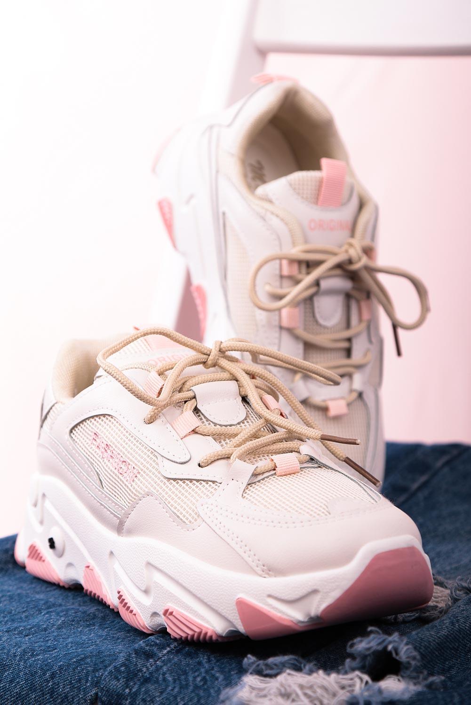 Beżowe buty sportowe sneakersy sznurowane Casu 204/33P jasny beżowy