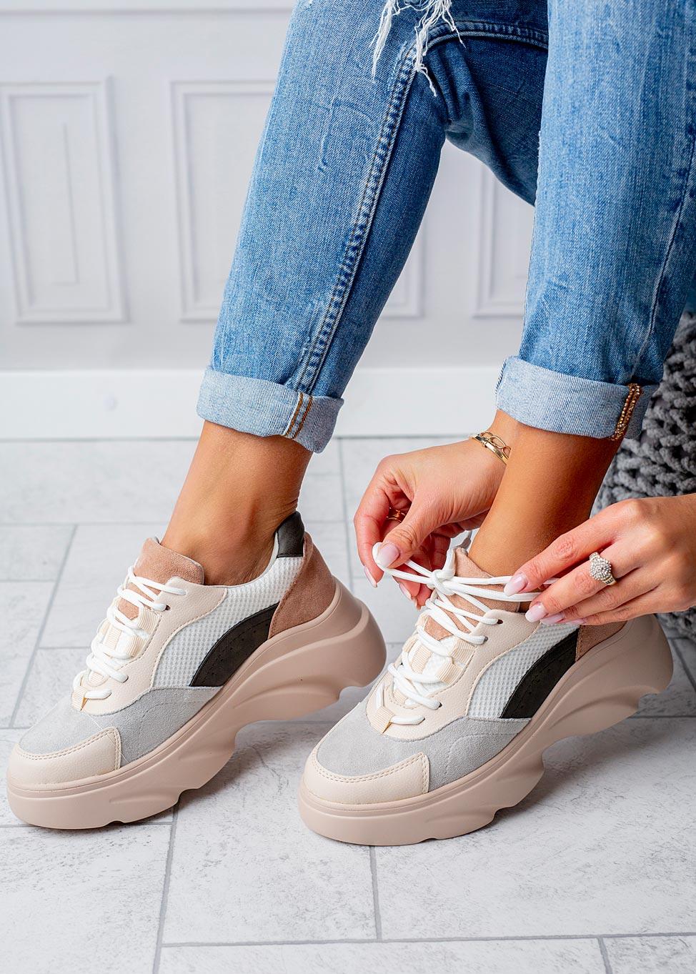 Beżowe buty sportowe sneakersy sznurowane Casu  producent Casu