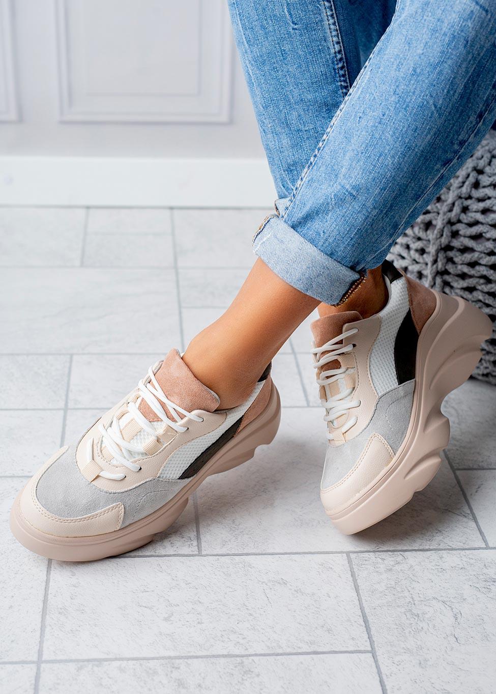 Beżowe buty sportowe sneakersy sznurowane Casu  sezon Całoroczny